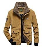 chouyatou Men's Casual Fleece Collar Thicken Quilted Lined Corduroy Bomber Jacket Coat (Large, Khaki)