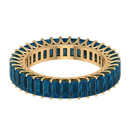 Anillo de eternidad con piedras preciosas, 3,02 ct, 2 x 4 mm, topacio azul, forma de baguette, anillo de la piedra natal de diciembre, 18K Oro amarillo, Size:EU 69