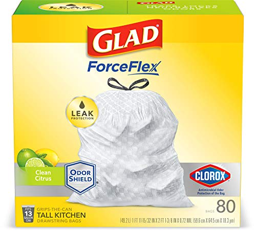 Glad Tall Kitchen Drawstring Trash Bags – Antimicrobial Protection 13 Gallon White Trash Bag, Scented - 80 Count