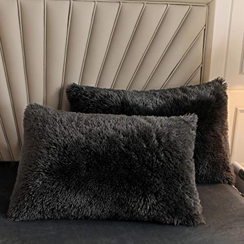 XIYU Shaggy - Juego de 2 fundas de almohada decorativas con cierre de cremallera (estándar, gris oscuro)