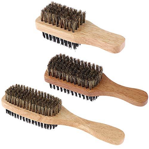 Hombres Hombres Cerdas de Jabalí Barba Bigote Cepillo de Afeitar para El Cabello 3 Piezas 3 Tamaños