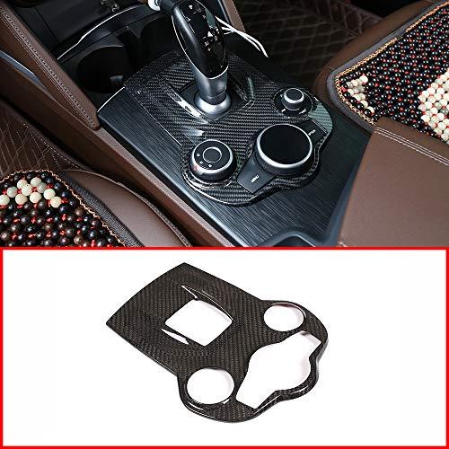 YUECHI Real Carbon Fiber for Alfa Romeo Giulia Stelvio 2017 2018 2019 Car Interior Center Console Gear Shift Panel Cover Trim