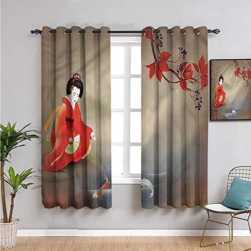 Pcglvie Koi Fish - Cortina opaca de 160 cm de largo, diseño de geisha para mujer, hojas de otoño, cortina de baño, 132 x 163 cm