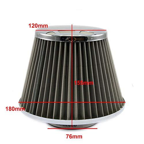 SDUIXCV Filtro de Aire frío de Acero Inoxidable 76 mm de Alto Flujo de Alto Flujo Cono de Aire de Aire filtros de admisión de Aire de 3 Pulgadas Deportivas de Alta Potencia (Color : Large)