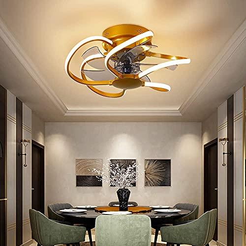 HMMHHE Luz del ventilador de techo con iluminación y control remoto, ventilador de luz LED 60W, 3 velocidades de viento ajustables y 3 colores regulables, marrones (Color : Gold)