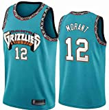 LCY Hombres Jersey Baloncesto - NBA Jersey Grizzlies ° 12 Mangas Transpirable Morant Fitness...