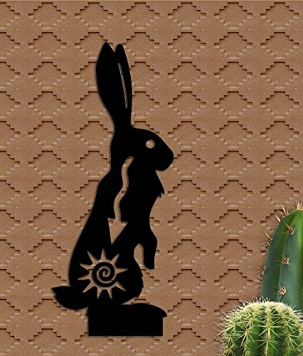 Southwest Jack Rabbit Metal Garden Art Yard Metal Sculpture Unique Gift Hand Made 7 inches Wide x approx 15 1/2 Tall