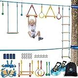 Ninja Warrior Obstacle Course Kit for Kids 37 PCS 52' Ninja Line Slackline Hanging Monkey Bars Fists...