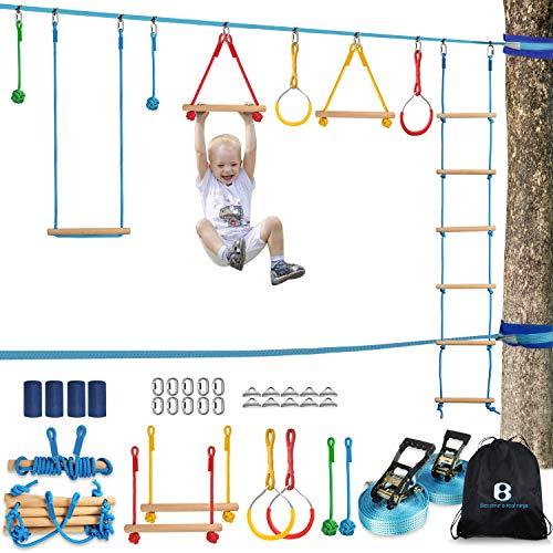 Ninja Warrior Obstacle Course Kit for Kids 37 PCS 52' Ninja Line Slackline Hanging Monkey Bars Fists Gym Rings Swing Rope Ladder Portable Outdoor Ninja Course Training Equipment Set for Backyard