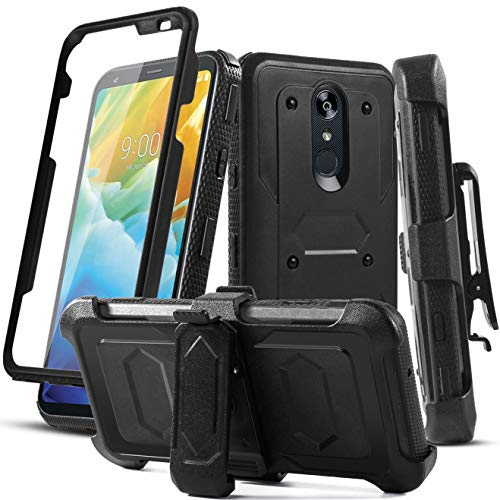 Aetech Phone Case for LG Stylo 4 Case, LG Stylo 4 Plus/Stylo 4+/Q Stylus/Stylus 4/LG L713/Q710 Phone Case with Belt Clip Screen Screen Protector Kickstand for Women Men (Black)