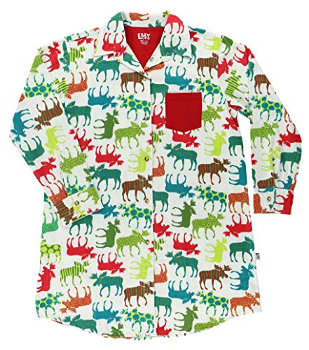 Lazy One Button-Up Sleep Shirt, Nightshirts for Women, Animal-Themed Designs (Pattern Moose, S/M)