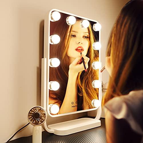 48 * 36cm Grande Hollywood Espejo de Maquillaje Profesional con luz, Espejo de Maquillaje Iluminado con lámparas LED Regulables, conversión de luz de 3 Colores, Giratorio de 360 °, Blanco