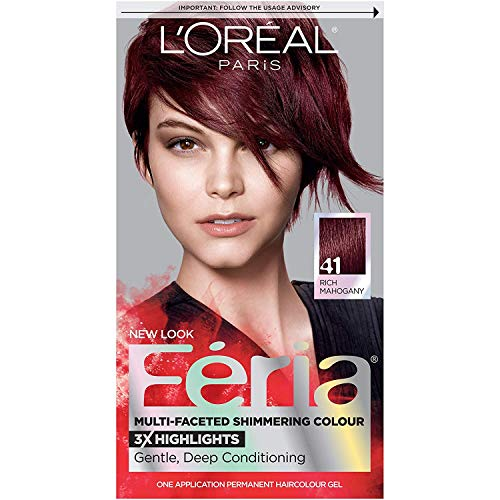 L'Oreal Paris Feria Multi-Faceted Shimmering Permanent Hair Color, 41 Crushed Garnet (Rich Mahogany), Pack of 1, Hair Dye