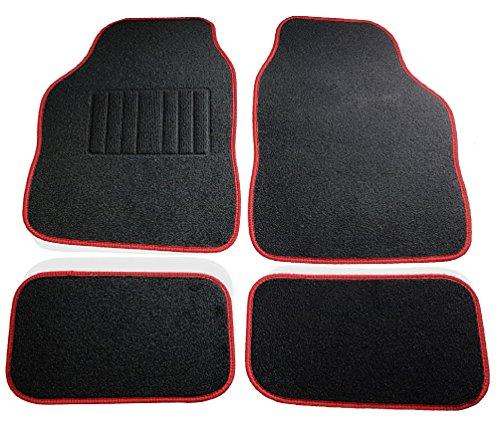 Safe Travel 27652 Alfombrillas universales para vehículos con volante a la izquierda, Almohadilla para los pies con costura, Costuras en Color Rojo