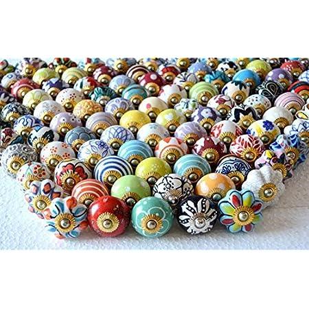 Hand Painted Mix Design Unique Design Multicolour Assorted Drawer Knobs Knob Ceramic Knob Drawer Pulls /& Knobs