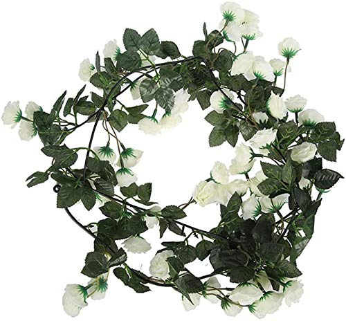 2Pcs 69 Heads Artificial Rose Vine Garland, 1.8M Silk Fake Flowers Garland Artificial Flower Hanging Rose Garlands for Hotel Wedding Home Party (White)
