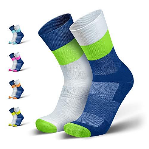 INCYLENCE Mirrored Kompressionssocken lang, leichte Running Socks mit Anti-Blasenschutz, atmungsaktive Funktionssocken, Triathlon Socken, grün, 43-46