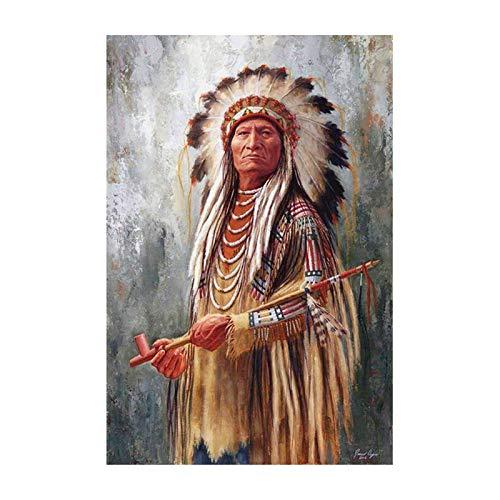 Pintura por números para Kits de Lona laminados para Adultos para Artistas Principiantes-Acuarela acrílica Pintura-Pintura al óleo Artes artesanía decoración Regalo Indios