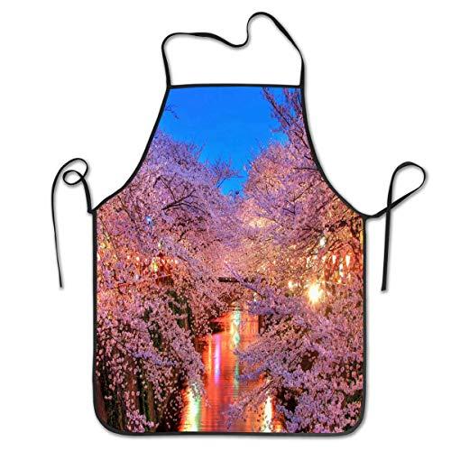 N\A Lustige verstellbare Küchenschürze für Frauen, Koch, Kellnerin, Passend für Grill, Grill, Paint Cross Back - Die Sakura-Blüte und ihre kulturelle Bedeutung in Japan