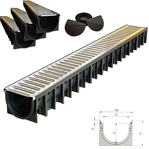 Canaletta di scolo acqua carrabile in PP-PE con griglia zincata 120X92 griglia scolo acqua piovana Ideale per interrati garage e cortili (120X92 KIT 3 PZ)