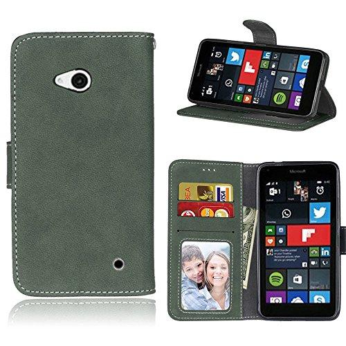 pinlu Hohe Qualität Retro Scrub PU Leder Etui Schutzhülle Für Microsoft Lumia 640 Dual-SIM Lederhülle Flip Cover Brieftasche Mit Stand Function Innenschlitzen Design Grün