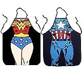 Tbrand 2 set di grembiuli da armadio, cucina alla moda e carina, grembiuli maschili e femminili stampati sexy impermeabili, superman divertente, (Capitan America + Donna)