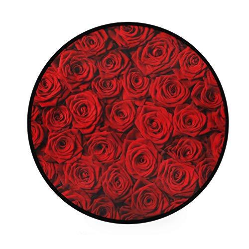 TropicalLife XIXIKO - Alfombra redonda con diseño de rosas y flores, circular, antideslizante, para habitación de niños, sala de juegos, sala de juegos, dormitorio, silla, cojín de 36 pulgadas