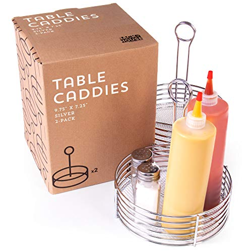 2-pack of Silver Metal Table Caddies - Round Tabletop Condiment Basket with Number Holder - Stainless Steel Storage Organizers for Restaurants, Diners, Home Kitchen Supplies