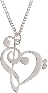Stainless Steel Music Note Symbol Necklace Heart of Treble and Bass Clefs Pendant Gift for Women