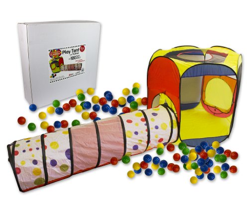 Right Track Toys Play Tent with 100 Balls and Tunnel- Indoor and Outdoor Easy Folding Ball Pit with Carrying Case