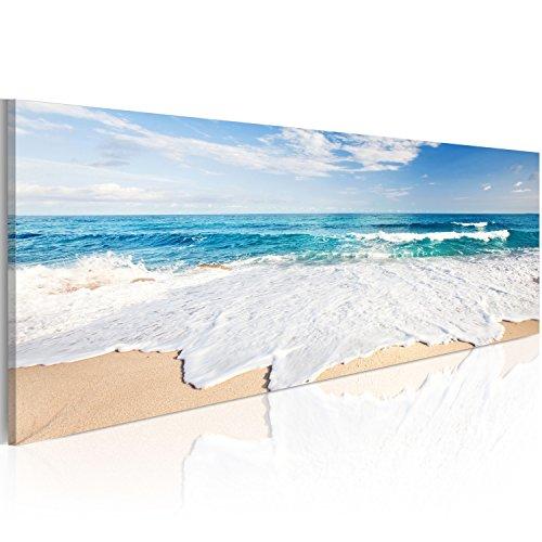 murando Cuadro en Lienzo Mar Playa 150x50 cm 1 Parte Impresión en Material Tejido no Tejido Cuadro de Pared impresión artística fotografía Imagen gráfica decoración Naturaleza Paisaje c-A-0049-b-d