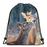 Rasyko Deer Kiss Wild Animal Custom Custom Borsa da palestra Zaino da viaggio leggero per uomo donna 42,9 x 35,6 cm