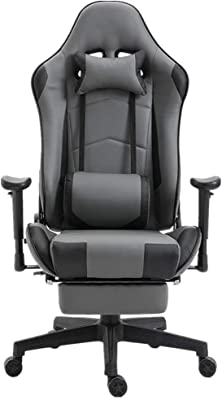 WHEEJE Gaming Chair Racing Computer Office Chair High Back Swivel Desk Chair with Footrest (Color : Black, Size : 70X70X127CM) Leisure
