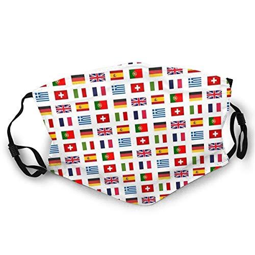 Ogden Moll Mundschutz Gesichts-Sturmhaube Gesichtsschal Mundschal Flaggen der europäischen Länder Mit 2 Filtern,M