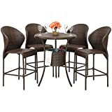 Best Choice Products 5-Piece Wicker Patio Bistro Table Set with Ice Bucket,...