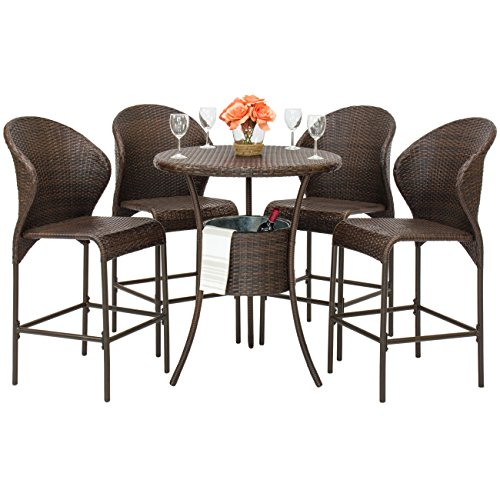 Best Choice Products 5-Piece Outdoor Patio Furniture Wicker Bistro Bar Table Set w/Ice Bucket