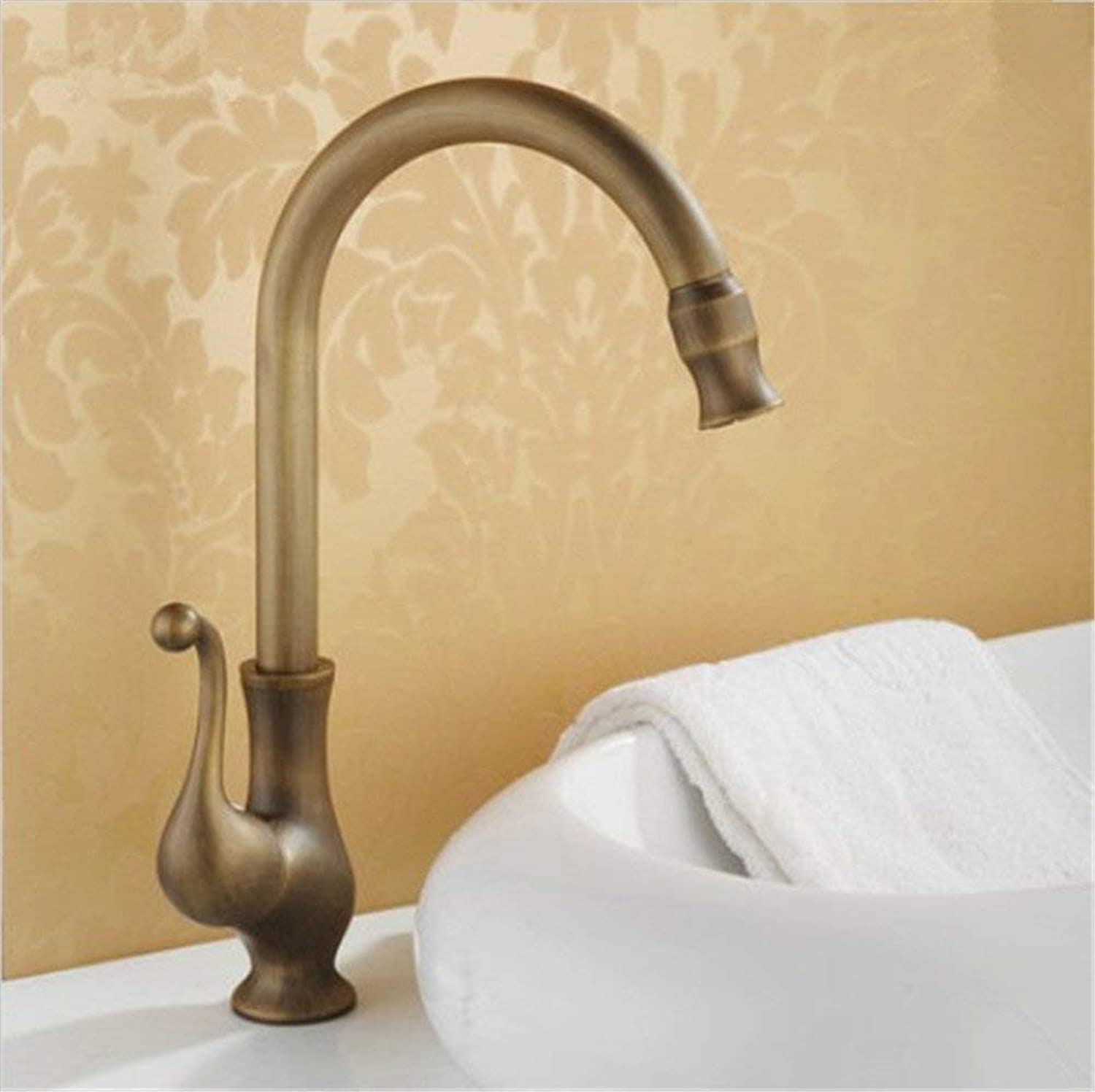 Oudan European Antique Faucet Copper Kitchen Sink Faucet Hot and Cold Water Mixing Faucet Art Basin Above Counter Basin (color   -, Size   -)