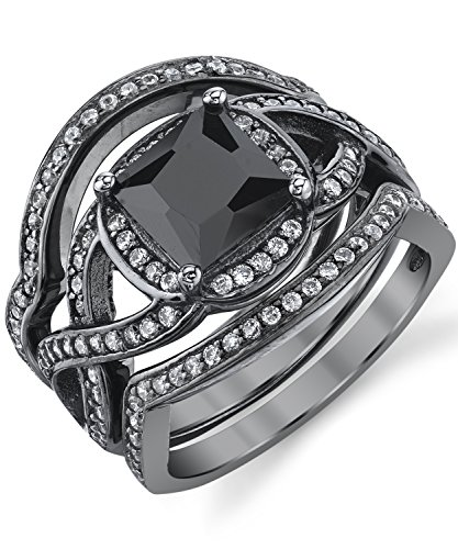 Black Rhodium-Plated Sterling Silver Engagement Ring by Metal Masters Co.