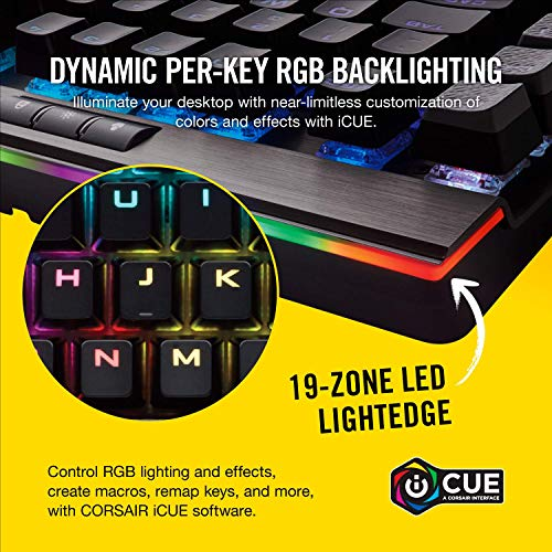 Corsair K95 RGB PLATINUM Mechanical Gaming Keyboard - 6x Programmable Macro Keys - USB Passthrough & Media Controls - Fastest Cherry MX Speed - RGB LED Backlit - Aluminum Finish
