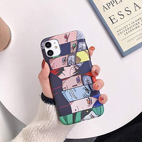 HNZZ Tmrtcgy Luxury Japan Anime Naruto Sasuke Kakashi Case para iPhone 11 12 Pro XS MAX 7 8 Plus XR Funda de teléfono Dibujos Animados Soft Silicon Cover (Color : R, Size : Iphone12)