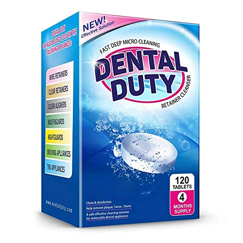 120 Retainer and Denture Cleaning Tablets (4 Months Supply) - Cleaner for Dentures, Retainers, Night Guards, Mouth Guard, and Removable Dental Appliances. Made In USA