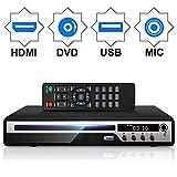 DVDプレーヤー Mic対応 1080Pサポート DVD/CD再生専用モデル HDMI端子搭載 CPRM対応 録画した番組や地上デジタル放送を再生する USB AV / HDMIケーブルが付属し テレビに接続できます リモコン 日本語説明書付き