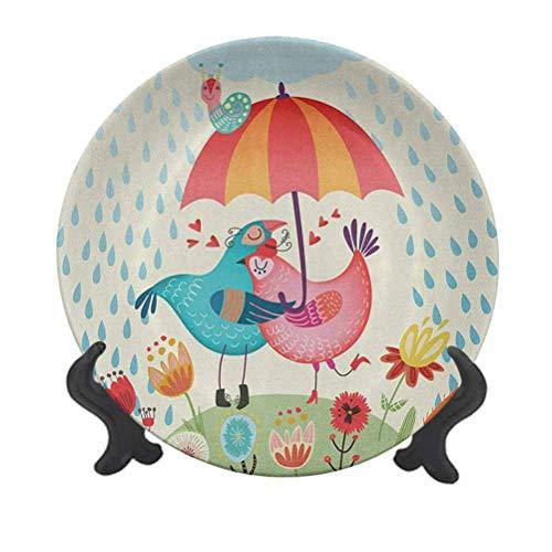 Love - Plato decorativo de cerámica de 25,4 cm, diseño de pájaros en la lluvia con un paraguas, colorido día de San Valentín, ilustración romántica, plato de cena de cerámica decorativo para Navidad