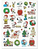 "Peanuts Characters Snoopy, Woodstock, Charlies Brown, Lucy Christmas stickers Acid-Free and lingnin-free; Safe for scrapbooking or other uses 1 Sheet measuring 8.5"" x 11.5"" and contains 34 stickers of your Peanuts pals Made in the USA"
