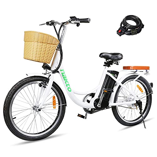 NAKTO 22' Electric Bike 250W Electric Bicycle Sporting City Ebike for Female with 36V 10Ah Lithium...