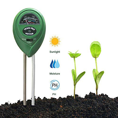EasyULT Bodentester, Boden Feuchtigkeit Meter, 3 in 1 Boden Feuchtigkeit und PH, Lichtintensität Pflanze Tester für Pflanzenerde, Garten, Bauernhof, Rasen(Kein Batterien Erforderlich)