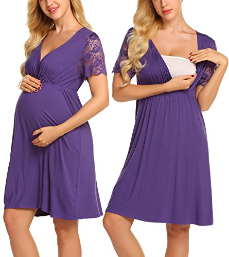 MAXMODA Womens Delivery/Labor/Maternity/Nursing Nightgown Pregnancy Gown for Hospital Breastfeeding Dress (XX-Large, Purple)
