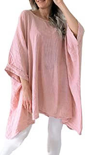 Women Tees Cotton Linen Batwing Half Sleevel Shirt Irregular Hem Casual Loose Blouse Loose Fit Comfy Tunic
