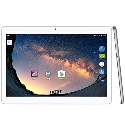 2019 Upgrade - YUNTAB 10.1 inch Android Tablet PC, WiFi/Unlocked 3G Connection, 2GB RAM 16GB ROM, 1.3 GHz Quad Core CPU, IPS Touch Screen,with Dual SIM Card Slots, Dual Camera (Silver)