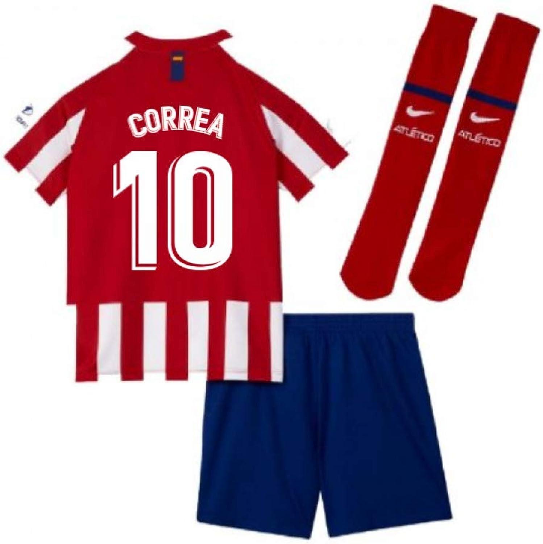 UKSoccershop 2019-2020 Atletico Madrid Home Nike Little Boys Mini Kit (Angel Correa 10)